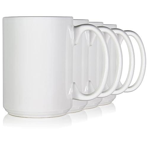 717d1665d59 Serami 15oz Classic White Coffee Mugs. Large Handle and Ceramic  Construction