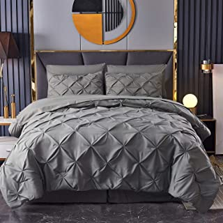 HAOK Bed in a Bag Set - 8 Pieces Pinch Pleat Bedding Comforter Sets, Pintuck Microfiber Down Alternative King Comforter Se...