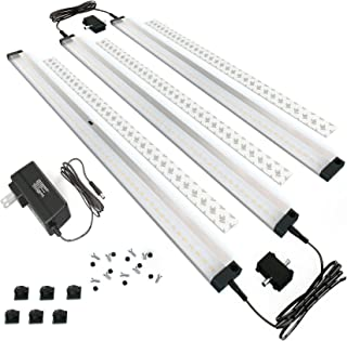 EShine 3 Extra Long 20 inch Panels LED Dimmable Under Cabinet Lighting Kit, Hand Wave Activated - Touchless Dimming Control, Cool White (6000K)