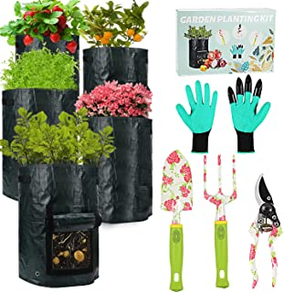 Gardening Tools Potato Grow Bags - 5 PCS 10 Gallon Grow Bags+ 4 Garden Tools Set, Heavy Duty Aluminum Garden Tools with Ga...