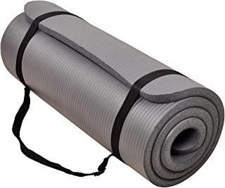 BalanceFrom GoCloud All-Purpose 1-Inch Extra Thick High Density Anti-Tear Exercise Yoga Mat with Carrying Strap (Gray)
