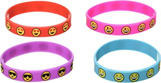 Yen Jean 36 PCS Cute Emoji Smiley Face Emoticon Rubber Wristbands Bracelets Birthday Party Favors
