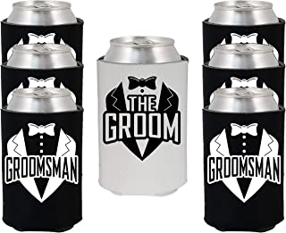 Shop4Ever The Groom and Groomsman Tuxedo Can Coolie Wedding Drink Coolers Coolies (Blk, 6 Pk, Tux)