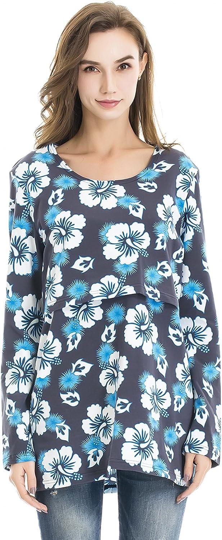 Bearsland Maternity Women's Striped Short Sleeves Maternity Nursing Top