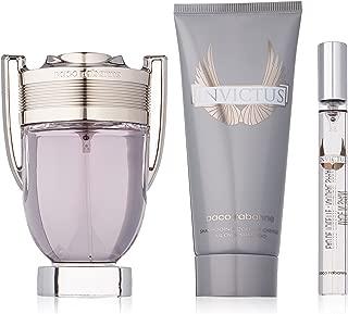 Paco Rabanne Invictus for Men 3 Piece Gift Set - 3.4 Ounce Eau De Toilette Spray + 3.4 Ounce All Over Shampoo + 10 ml Travel Spray