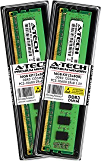 A-Tech 16GB DDR3 1333MHz Desktop Memory Kit (2 x 8GB) PC3-10600 Non-ECC Unbuffered DIMM 240-Pin 2Rx8 1.5V Dual Rank Computer RAM Upgrade Sticks