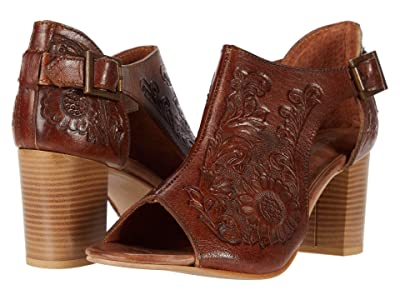 Roper Mika Closed Back (Tan Floral Tooled Leather) Women