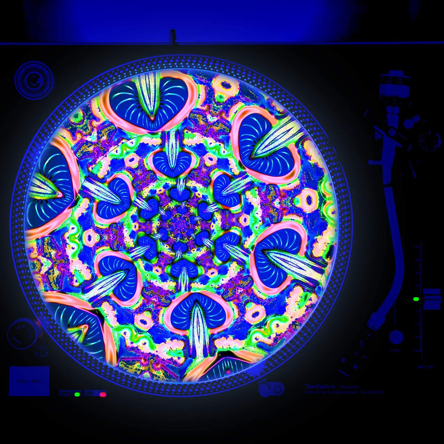 Electro Mushroom - DJ Turntable Slipmat inch Courier shipping free shipping GLOW 12 glows unde excellence