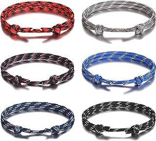 دستبندهای قابل تنظیم رشته ای دستباف طناب دار دستی Jeka 6 عددی