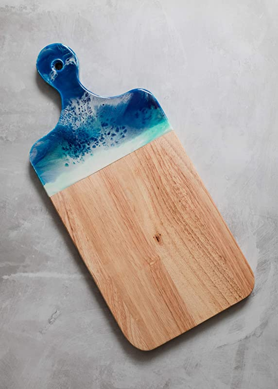 Ocean Theme Wood Cutting Board With Handle Or Cheese Serving Board