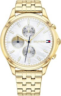 Tommy Hilfiger Women'S White Mother Of Pearl Dial Ionic Thin Gold Plated 1 Steel Watch - 1782121