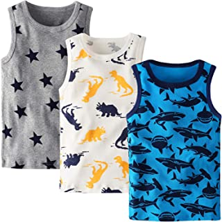 Boys Tanks Top 3-Pack Dinosaur Sleeveless Shirt Toddler Undershirt 1-7Y