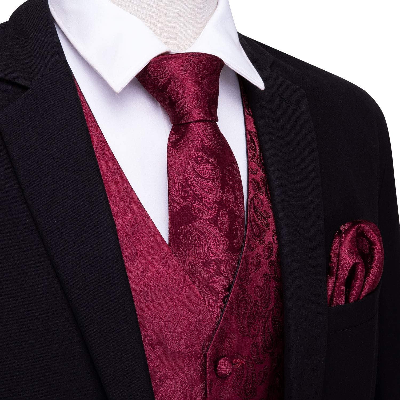 gemelos cuadrados chaleco de cachemira con corbata de bolsillo Barry.Wang Chaleco formal para hombre