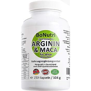 Maca 3600 mg & Arginin 3000 mg 150 vegane Kapseln Qualität aus Deutschland Ohne Magnesiumstearat Vegan Glutenfrei Laktosefrei DER L-Arginin VERGLEICHSSIEGER 2019 bei vergleich.org