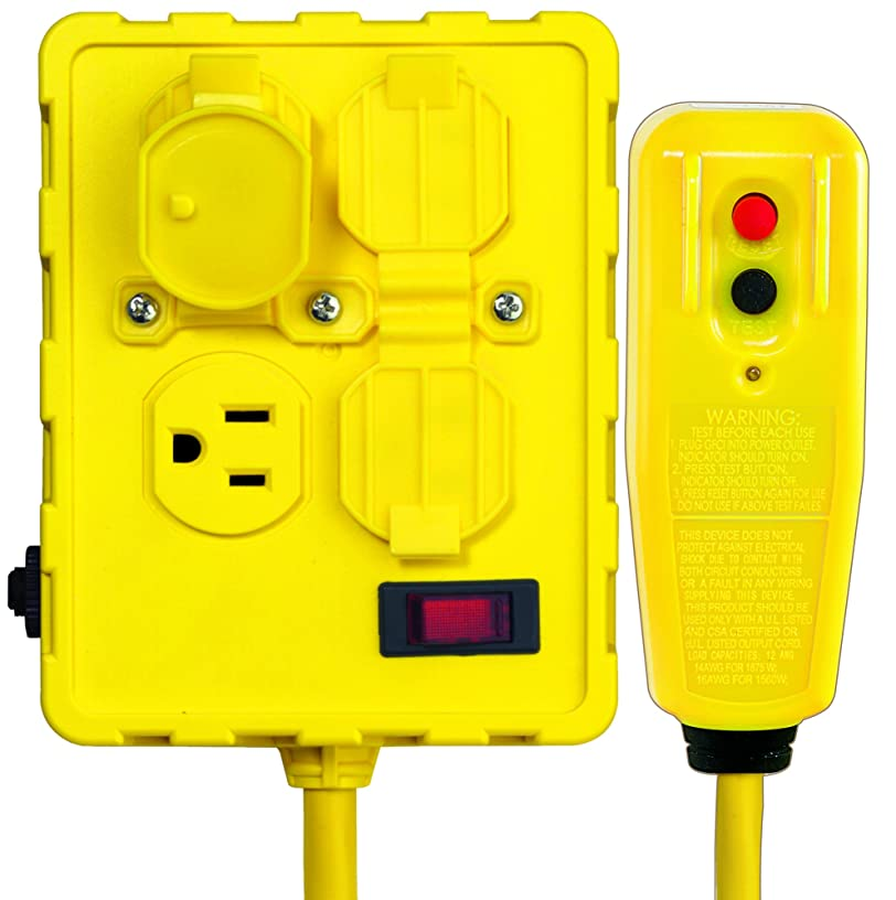Tower Manufacturing 30434052 Auto-Reset Right Angle GFCI Cord and 4-Outlet Power Box, 6 Feet, Yellow