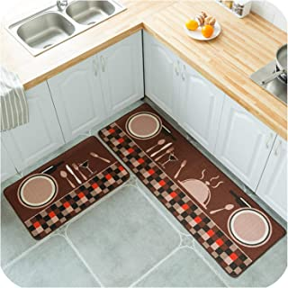 Polyester Printing Kitchen Rug Living Room Bathroom Carpet in The Hallway Doormat Floor Mat Tapete,Plate Knife and Fork,50X120cm