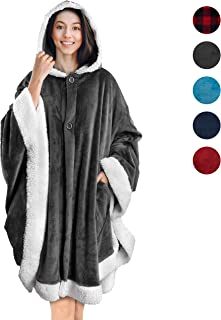 PAVILIA Angel Wrap Hooded Blanket | Throw Poncho Wrap with Soft Sherpa Fleece | Plush, Warm Wearable Blanket with Pockets for Women Gift (Gray)