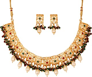 """Touchstone""""Mughal Jali collection"""" Indian Bollywood white Rhinestone faux red green pretty traditional floral cutwork brid..."""