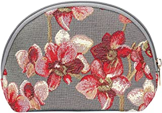 Orchid Grey and Red Cosmetic Bag by Signare/Floral Makeup Wild Orchid Tapestry Travel Beauty Case/COSM-ORC