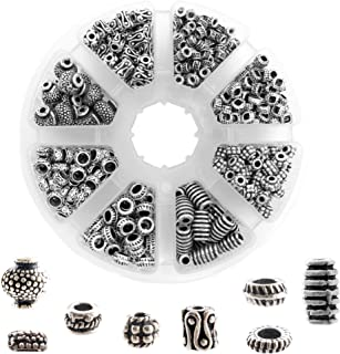 650 PCS Tibetan Bali Antique Silver Metal Spacer Beads for Jewelry Making Adults, 8 Style Large Hole Beads for DIY Bracelets & Necklace, Bulk Alloy Bead Spacers Findings Bead Assortment w/Organizer