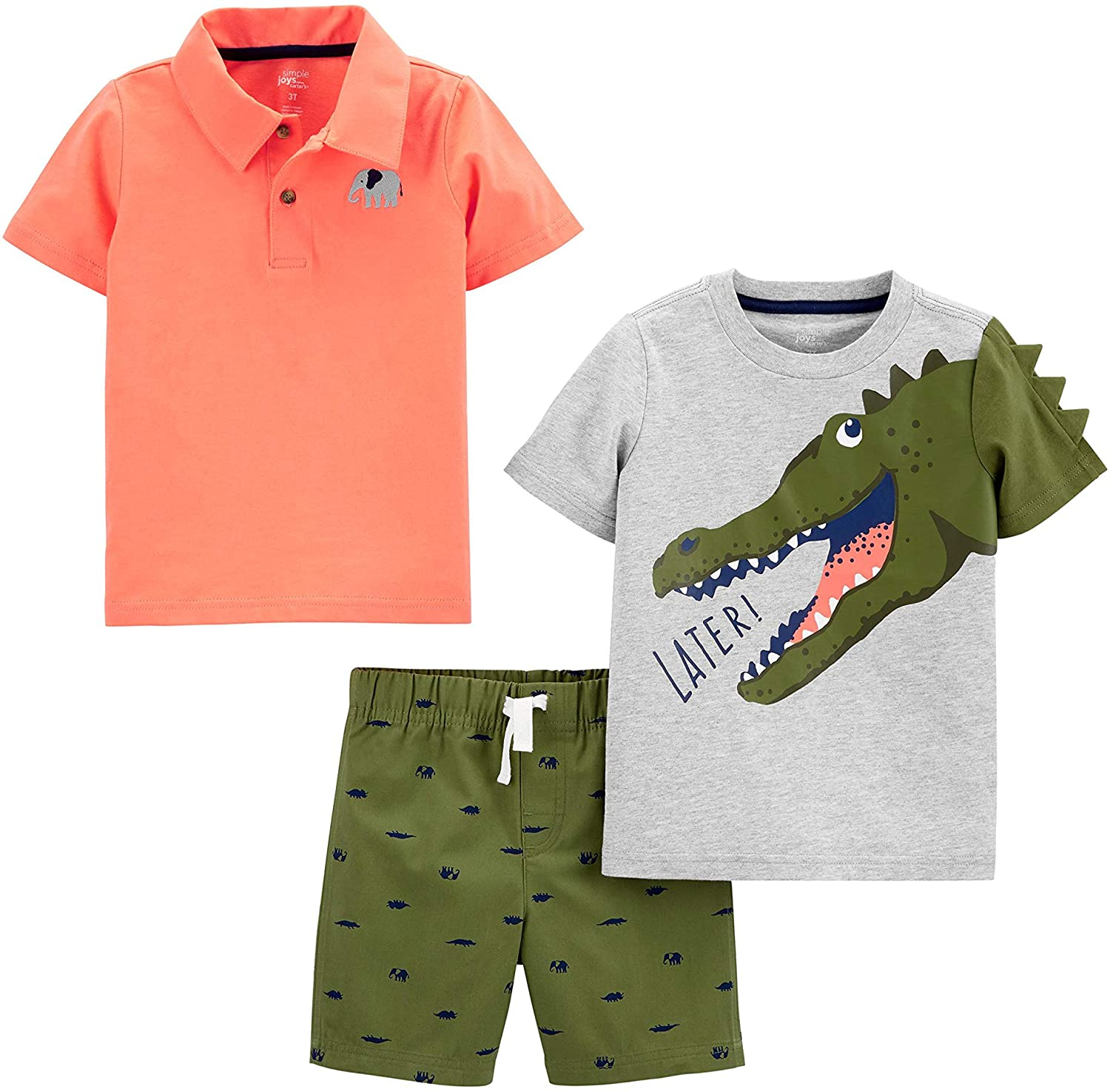 Simple Joys OFFicial by Carter's Boys' 3-Piece Button Dedication and Up Shorts Tee