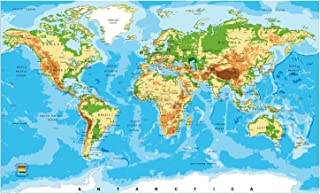 Large World Map Poster Color Print. 30in X 50in. for School Classroom and Home. Great Tool for Students and Teachers. Educational Wall Map Guide with Elevation Chart. #P1002B