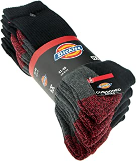 Cushio-Crew Work Socks, Black / Red, 5 Pairs, Type: DCK-00008