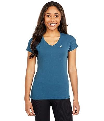 ASICS V-Neck Short Sleeve Top (Magnetic Blue) Women