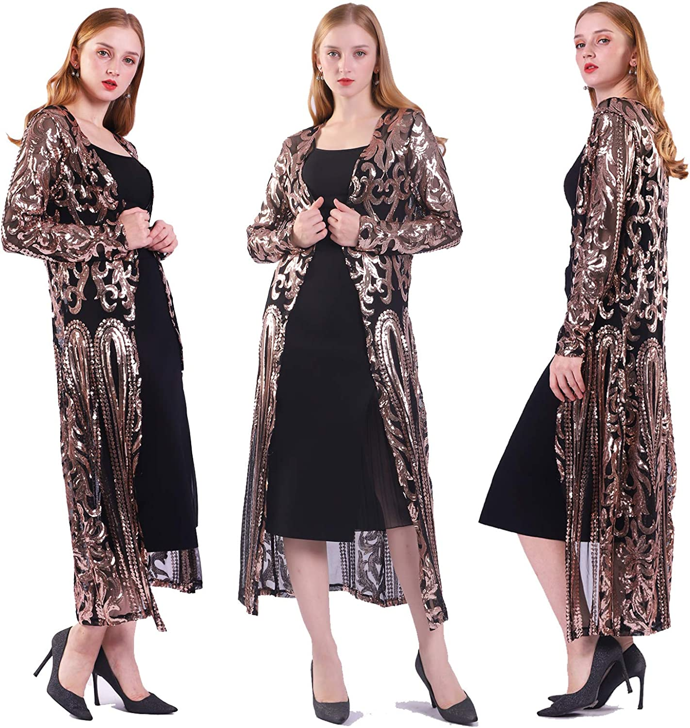 Women's Sequin Cardigan Summer Cover Up Dress Glitter Sparkle Open Front Coat Dresses Duster for Evening Prom
