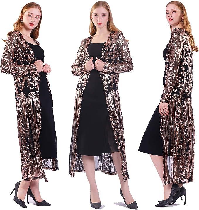 Shawls & Wraps   Fur Stole, Lace, Fringe Womens Sequin Cardigan Summer Cover Up Dress Glitter Sparkle Open Front Coat Dresses Duster for Evening Prom  AT vintagedancer.com