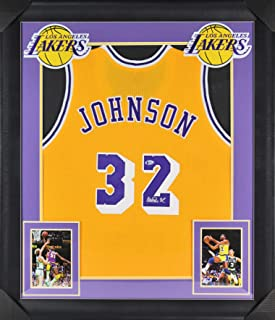 d260d850502 Lakers Magic Johnson Authentic Signed   Framed Yellow Jersey BAS Witnessed