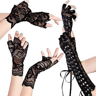 LassZone Guanti a rete in maglia vintage con dita intere in pizzo da donna con motivo floreale per cene e feste da sposa