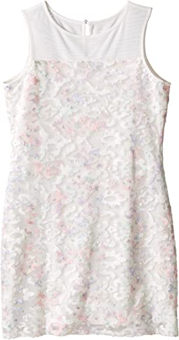 Printed Lace Sleeveless Illusion Sheath Dress (Big Kids)