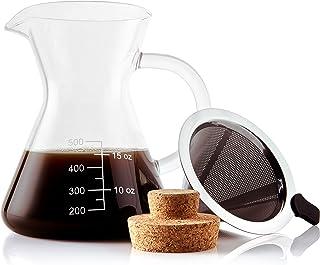 Apace Living Cafetera De Goteo Pour Over Filtro, Tapón De Corcho Y Cuchara Medidora - Elegante Cafetera Manual con Jarra De Vidrio y Filtro De Acero Inoxidable (500 ML)