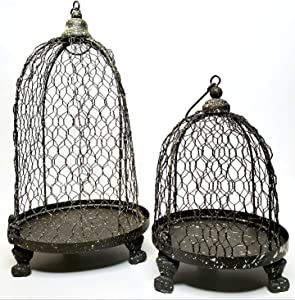 Hanging or Tabletop Antique Style Birdcage Candle Holder and Display Cloche Set of 2