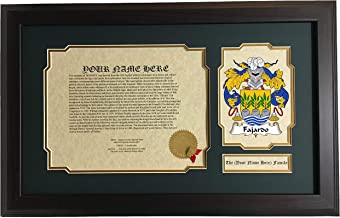 Fajardo - Coat of Arms and Last Name History, 14x22 Inches Matted and Framed