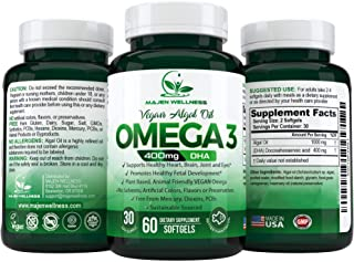 Vegan Omega 3 DHA Supplement - Our Algal Oil is a 100% Plant Based Vegan Omega Supplement in Triglyceride Form, Supports H...
