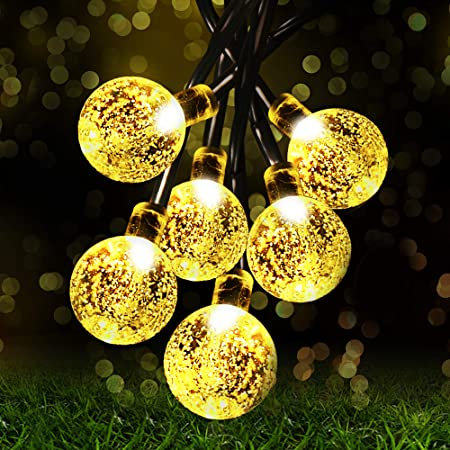 Solar String Lights Garden, 8 Modes 22.3Ft 30 LED Waterproof Crystal Ball Decorative Lights Indoor Outdoor Fairy Lights for Festival Celebrate Wedding Birthday Christmas Home Lighting (Warm White)