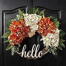 QUNWREATH 18 Inch Fall Wreath,Hydrangea Wreath,Wreath for Front Door,Hello Werath,Farmhouse Wreath,Grapevine Wreath,Everyd...