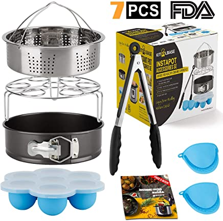 Insta-Pot-Accessories-Set, Instapot Accessory Compatible with Instant Pot 6 Qt 8 Quart, with Steamer Basket Cheesecake Pan Egg Steam Trivet Silicone Mold Mitts Tong, Made of 18/10 Stainless Steel
