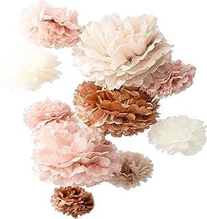 "Vidal Crafts 20 PCS Dusty Pink, Rose Gold, Ivory, Pastel Grey, Tissue Paper Pom Pom Kit, 14"", 10"", 8"", 6"", Tissue Paper Fl..."