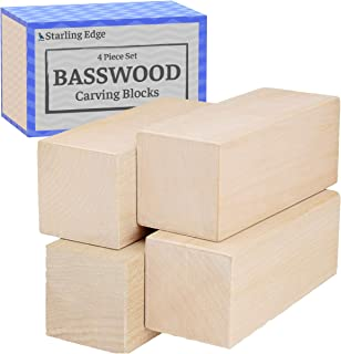 Basswood Carving Blocks - 4 Piece Wood Carving Kit with 2