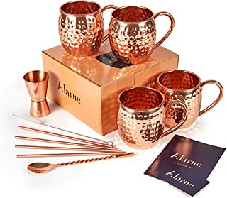 Moscow Mule Copper Mugs Set - 4 Authentic Handcrafted Mugs (16 oz.) with 4 Copper Straws, Copper Stirrer and Copper Jigger...