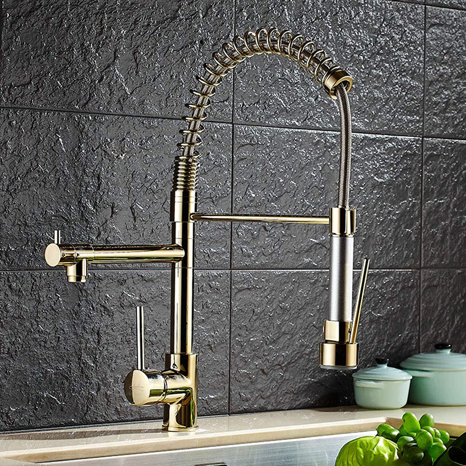 IFELGUD Spring Styl Kitchen Faucet With Pull Out Vessel Sink Mixer Tap Deck Mounted Kitchen Robinet golden Faucet