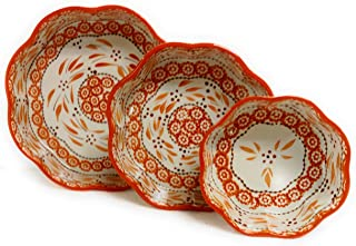 """Temp-tations Set of 3 Nesting Bakers, Layer Cake Pan, 10"""", 8"""", and 6"""", Flower Shape Dish (Old World Spice)"""