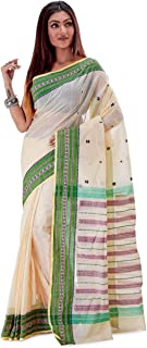 SareesofBengal Women's Bengal Cotton Tangail Tant Jamdani Handloom Saree Off-white