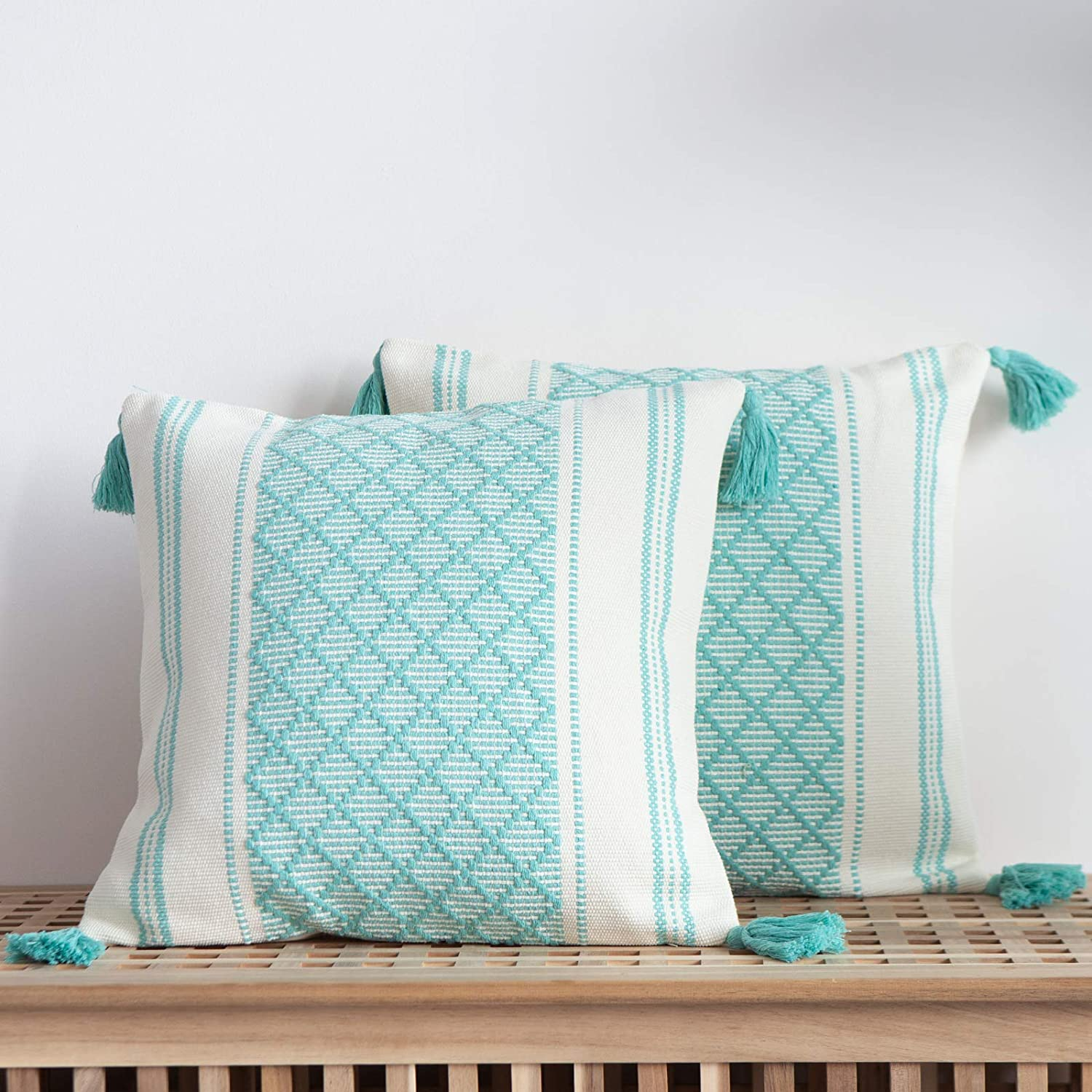 blue Brand new page Set of 2 Boho Baltimore Mall Throw Covers 1 Neutral Decorative Pillow