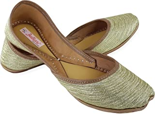 Fulkari Women's Soft Leather Bite and Pinch Free Zarri Work Embroidered Comfortable Casual Jutis Ethnic Flat Shoes