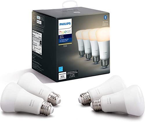 Philips Hue White 4-Pack A19 LED Smart Bulb, Bluetooth & Zigbee Compatible (Hue Hub Optional), Works with Alexa & Goo...