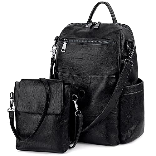 a2ae083f00e6 UTO Women Backpack Purse PU Washed Leather Ladies Rucksack Detachable  Crossbody Shoulder Bag